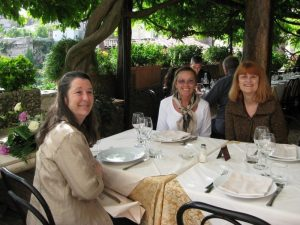 Shelley, Bobbi, and me at Sibilla outside Rome