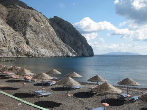 Black sand beach at Santorini