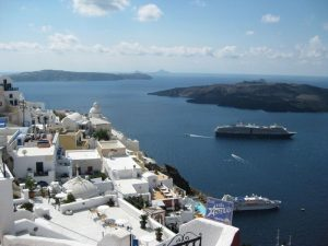View from the top of Santorini