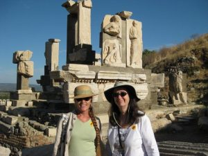 Friends Bobbi and Shelley at Grecian ruins