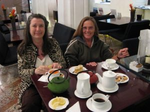 Friends Shelley and Bobbi at breakfast in Rome