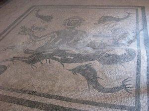 Dolphin mosaic at Herculaneum, Italy