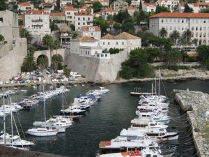 Ships in the harbor at Dubrovnik
