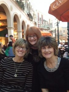 My sisters Carole Wiltfong, Jane Campbell Markota and me at the Venetian in Las Vegas
