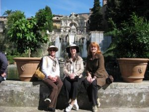 Shelley, Bobbi and me at Villa D'Este outside Rome