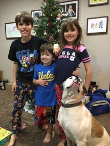 My Grand Nephews and Niece sporting their Christmas UCLA gifts!